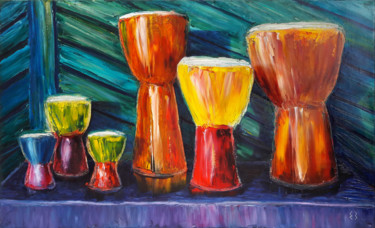 """Painting titled """"NAKED DRUMS"""" by Екатерина Захарова, Original Art, Oil Mounted on Stretcher frame"""