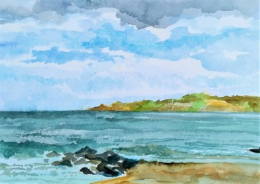 Landscape Painting, watercolor, impressionism, artwork by Elena Boyko