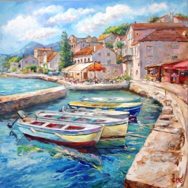 """Painting titled """"A quiet harbor"""" by Elena Hontar, Original Art, Oil"""