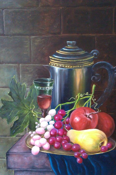 """Painting titled """"Wine and fruit"""" by Елена Козютенко, Original Art, Oil"""
