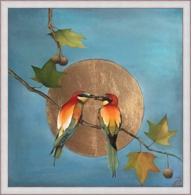 """Painting titled """"Bee-eaters on Plata…"""" by Elenaartdobro, Original Art, Oil Mounted on Stretcher frame"""