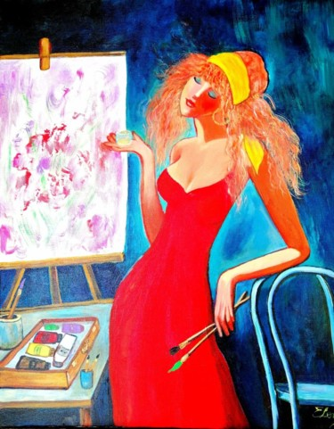 """Painting titled """"Inspiration"""" by Elena, Original Art, Acrylic Mounted on Stretcher frame"""