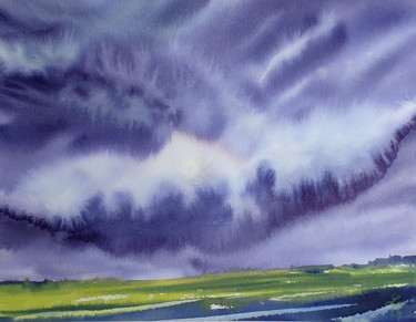 """Painting titled """"Thunderstorm. 2nd e…"""" by Elena Genkin, Original Art, Watercolor"""