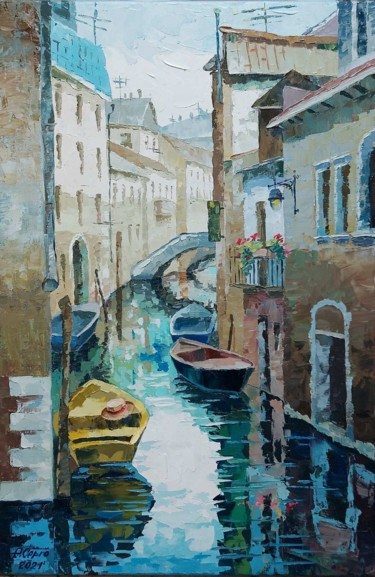 """Painting titled """"Venice. Emerald can…"""" by Елена Серго, Original Art, Oil"""