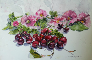 """Painting titled """"Summer sweet as che…"""" by Елица Карабашлиева, Original Art, Watercolor"""