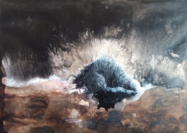 Painting, ink, abstract, artwork by Elisabeth Sandillon