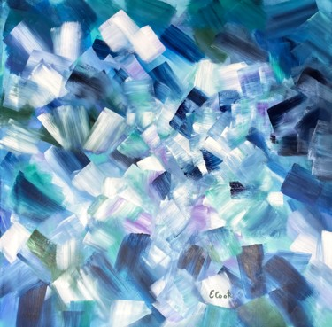 """Painting titled """"Slivers of Blue"""" by Elisa Cook, Original Art, Acrylic"""