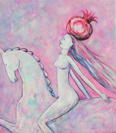 """Painting titled """"FEMALE ON HORSE WIT…"""" by Elisaveta Sivas, Original Art, Oil Mounted on Stretcher frame"""