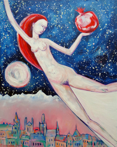 """Painting titled """"GIRL FLYING WITH MA…"""" by Elisaveta Sivas, Original Art, Oil Mounted on Stretcher frame"""