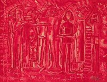 """Painting titled """"Egyptian Group (Red…"""" by Elissa Dorfman, Original Art, Oil"""