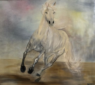 """Painting titled """"White horse"""" by Eliza Matica, Original Art, Oil"""