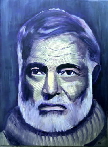 """Collages titled """"Hemingway"""" by Elle Mccarthy, Original Art, Acrylic"""