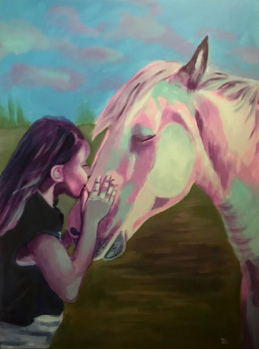 """Painting titled """"Girl kissing horse"""" by Elle Mccarthy, Original Art, Acrylic"""
