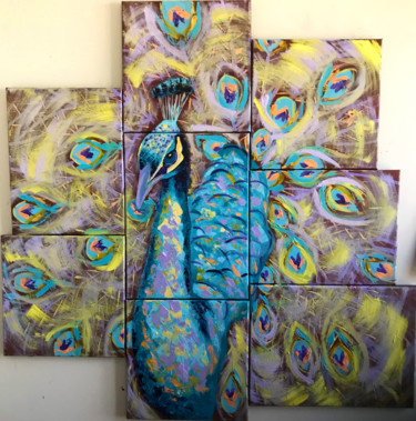 """Painting titled """"Peacock"""" by Elle Mccarthy, Original Art, Acrylic"""