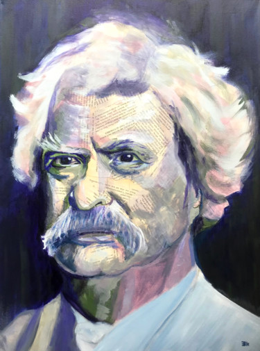 """Collages titled """"Mark Twain"""" by Elle Mccarthy, Original Art, Acrylic"""