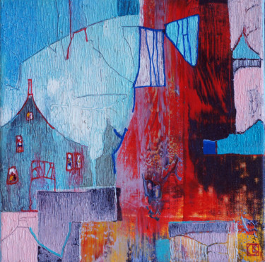 Architecture Painting, acrylic, abstract, artwork by Emil Hasenrick
