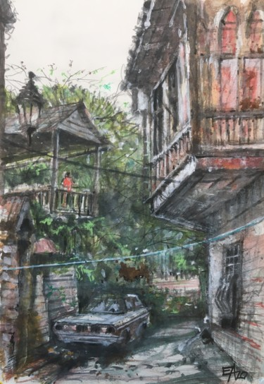 Landscape Painting, watercolor, figurative, artwork by Emilian Alexianu