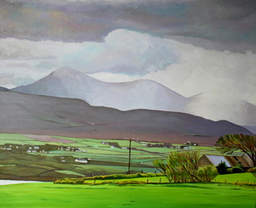 """Painting titled """"Rain Over Dunfanagh…"""" by Emma Cownie, Original Art, Oil Mounted on Stretcher frame"""