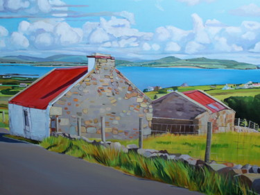 """Painting titled """"The Red Roofed Hous…"""" by Emma Cownie, Original Art, Oil"""