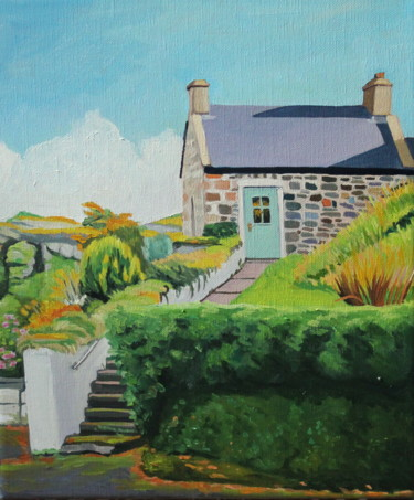 """Painting titled """"Cottage on Harbour…"""" by Emma Cownie, Original Art, Oil"""