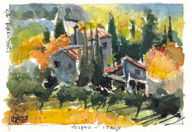 Countryside Painting, watercolor, impressionism, artwork by Emmanuele Cammarano