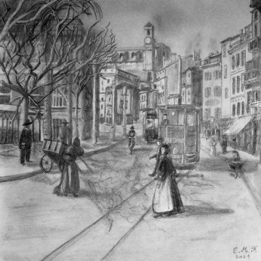 City Drawing, graphite, figurative, artwork by Emmanuelle Menny Fleuridas