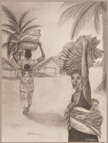 Africa Drawing, graphite, naive art, artwork by Emmanuelle Menny Fleuridas