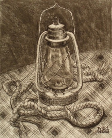 """Drawing titled """"Study Rope and Lamp"""" by Larissa Lukaneva, Original Art, Other"""