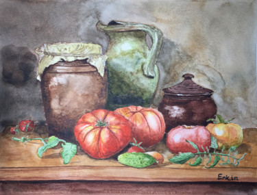 Still life Painting, watercolor, impressionism, artwork by Erkin Yılmaz