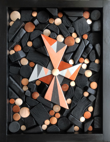 Geometric Sculpture, wood, abstract, artwork by Mimi Eres