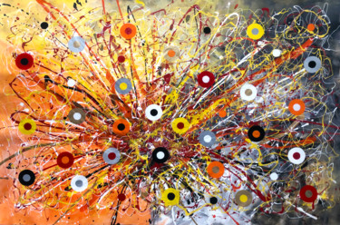 """Painting titled """"Burst of Cercles"""" by Mimi Eres, Original Art, Acrylic"""