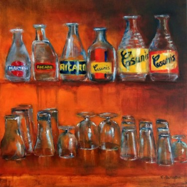 """Painting titled """"Le bar"""" by Eric Ballestra, Original Art, Oil"""