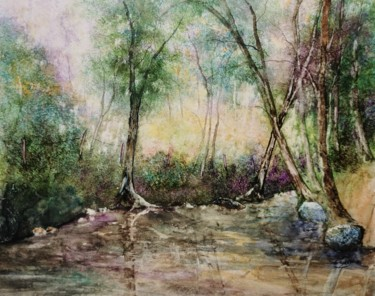 Landscape Painting, watercolor, figurative, artwork by Eric Lorcy