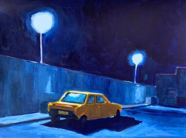"""Painting titled """"Voiture jaune"""" by Eric Stephan, Original Art, Acrylic"""