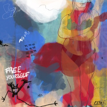 """Digital Arts titled """"Free Yourself #1"""" by Eric Stephan, Original Art, Digital Painting Mounted on Other rigid panel"""