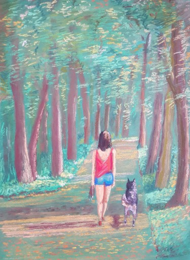 Forest Drawing, pastel, classicism, artwork by Eric Audry