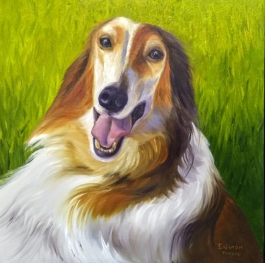 """Painting titled """"Borzoi on the wheat…"""" by Ericson, Original Art, Oil"""
