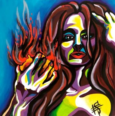 """Painting titled """"Eve with bleeding h…"""" by Elena Sivoplyasova, Original Art, Tempera Mounted on Stretcher frame"""