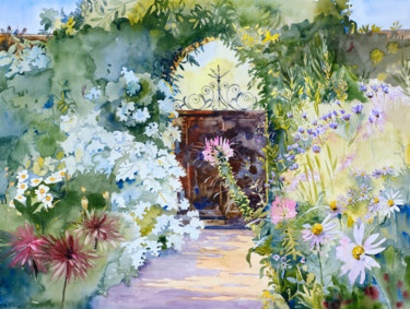 """Painting titled """"The Gate at Beatrix…"""" by Emily Stedman, Original Art, Watercolor"""