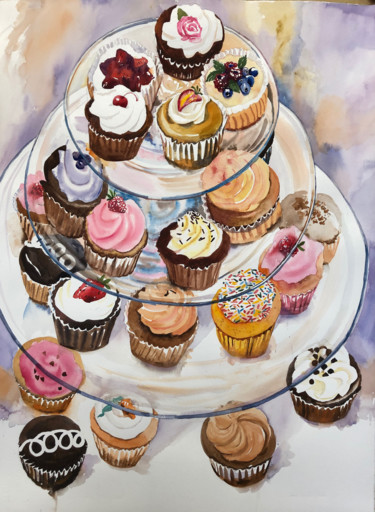 """Painting titled """"Dreaming of Cupcakes"""" by Emily Stedman, Original Art, Watercolor"""