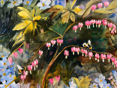 """Painting titled """"Bleeding Hearts and…"""" by Emily Stedman, Original Art, Watercolor"""