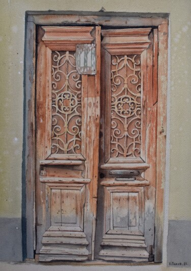 """Painting titled """"Old door"""" by Eugene Panov, Original Art, Watercolor"""