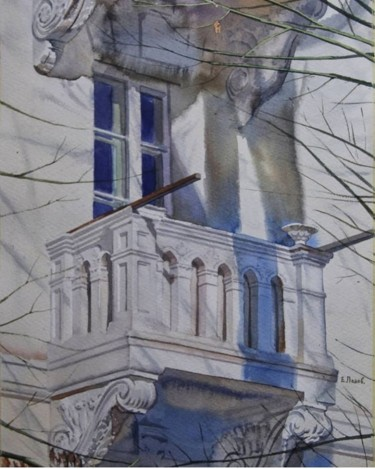 """Painting titled """"Old balcony"""" by Eugene Panov, Original Art, Watercolor"""