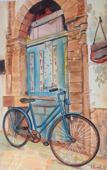 """Painting titled """"Bike near the old w…"""" by Eugene Panov, Original Art, Watercolor"""