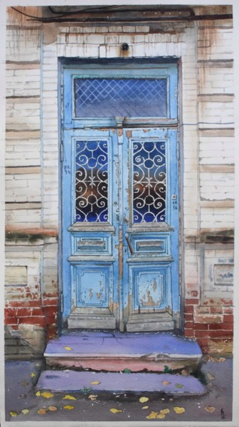 """Painting titled """"Old blue door"""" by Eugene Panov, Original Art, Watercolor"""