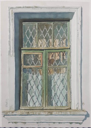 """Painting titled """"Old beautiful window"""" by Eugene Panov, Original Art, Watercolor"""