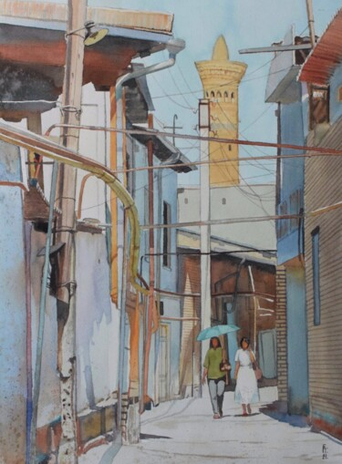 """Painting titled """"Old street in Bukha…"""" by Eugene Panov, Original Art, Watercolor"""