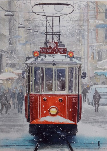 """Painting titled """"Winter. Old tram"""" by Eugene Panov, Original Art, Watercolor"""