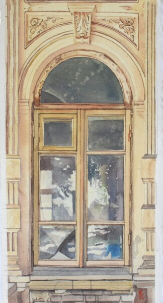 """Painting titled """"Old window in Bukha…"""" by Eugene Panov, Original Art, Watercolor"""