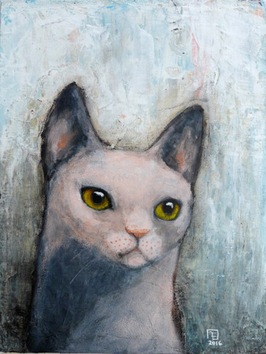 """Painting titled """"PINK CAT - SOLD"""" by Evafialka, Original Art, Acrylic"""